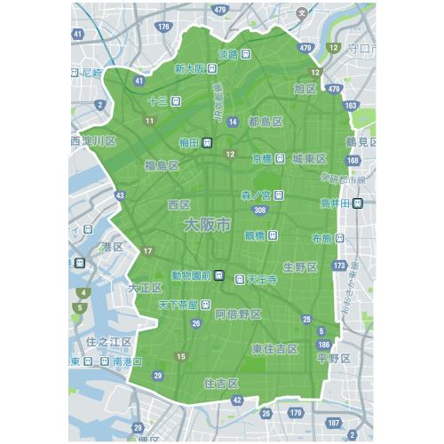 Uber Eats(ウーバーイーツ)大阪エリアのマップ画像