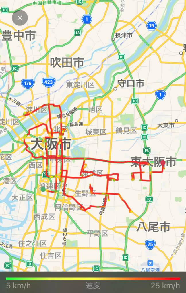 Uber Eats(ウーバーイーツ) 大阪はバイトより稼げるかトライした結果「114km」走行した画像
