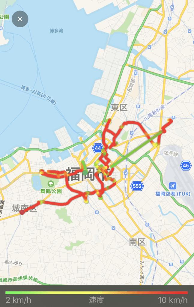 ウーバーイーツ福岡はバイトより稼げるか、自転車で稼動した3日目の走行距離画像