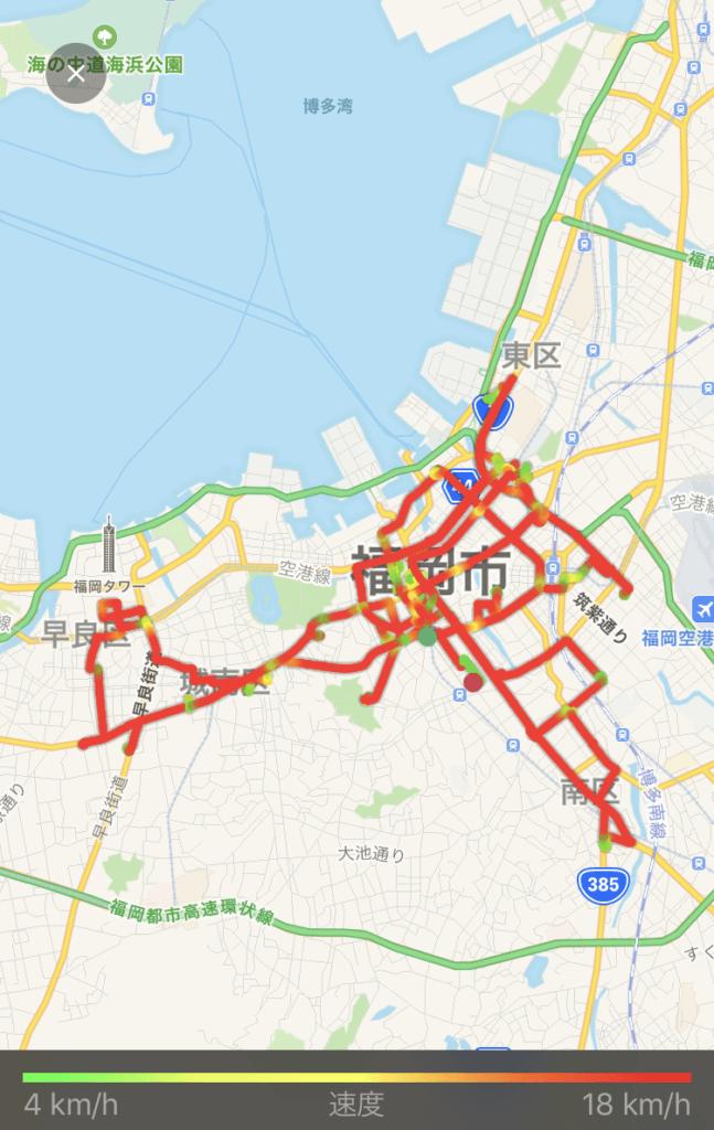 ウーバーイーツ福岡はバイトより稼げるか、バイクで稼動した1日目の走行距離画像