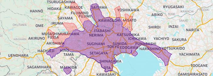 東大和市、昭島市、羽村市、福生市、武蔵村山市へ拡大しました