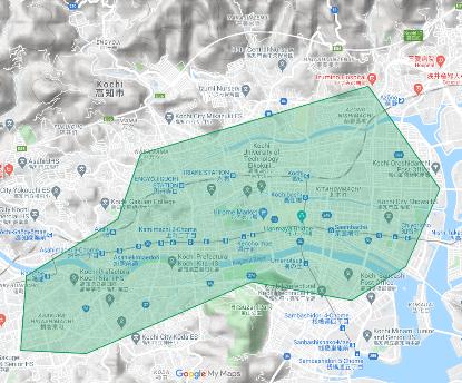 高知エリアマップ(注文・配達可)