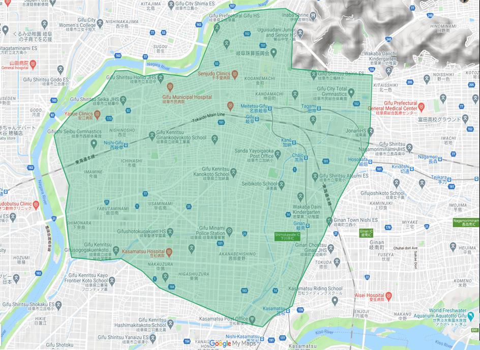 岐阜エリアマップ(注文・配達可)