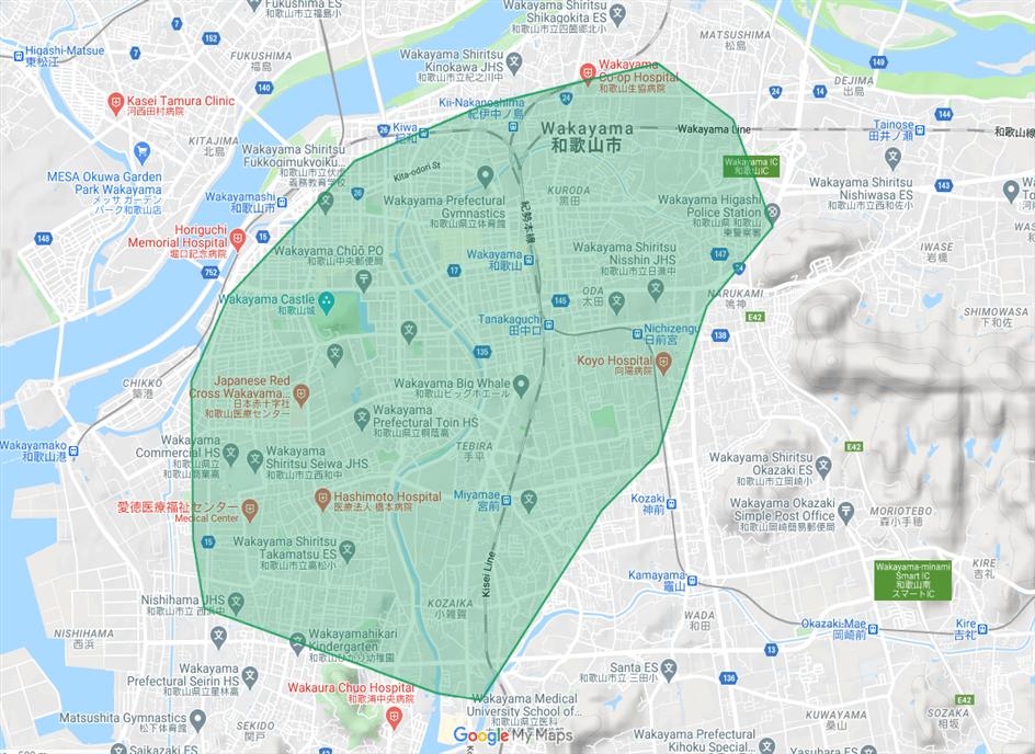 和歌山エリアマップ(注文・配達可)