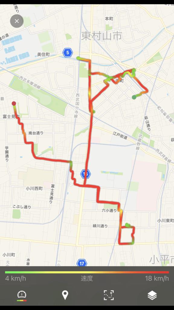 「runtastic」アプリを使用した走行トラッキングデータ