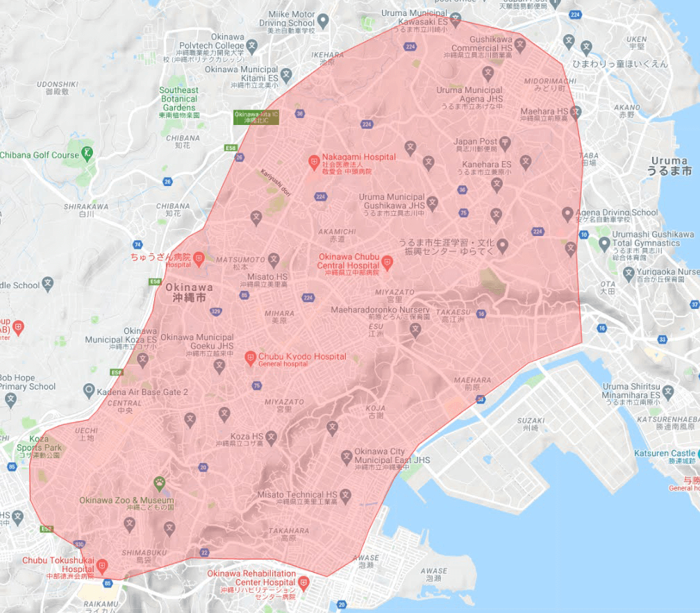 2021年2月18日にスタートするUber Eats 沖縄市のエリアマップ