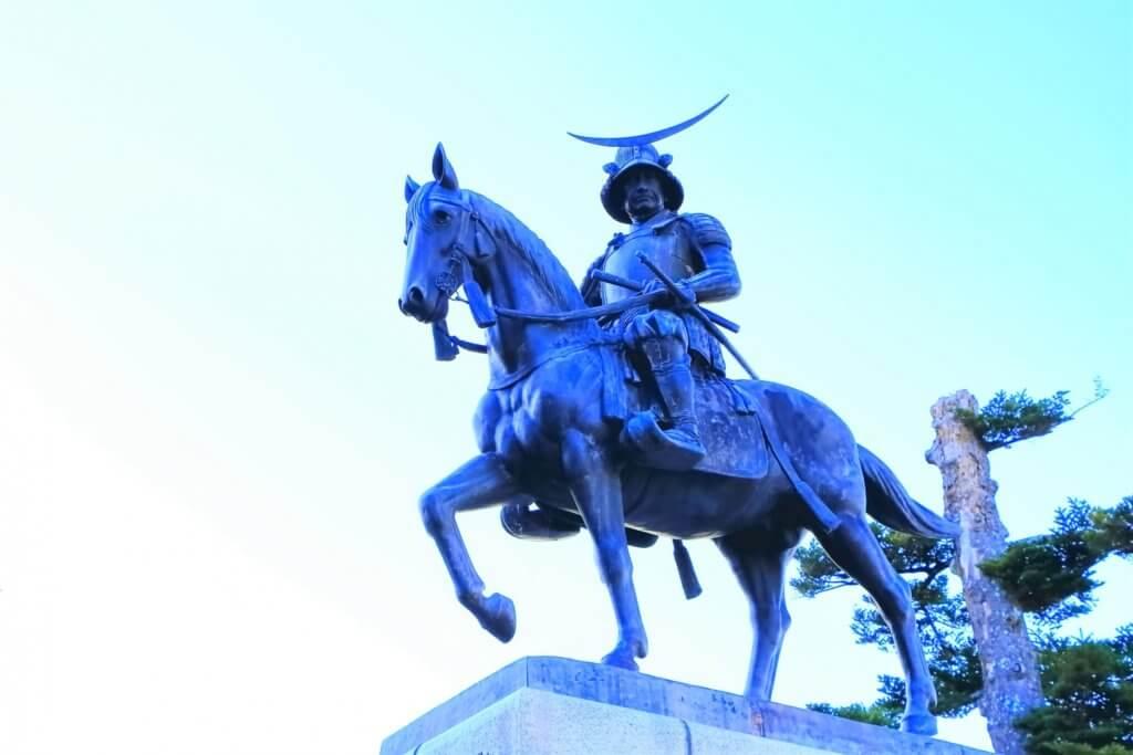 ウーバーイーツ仙台にある伊達政宗銅像