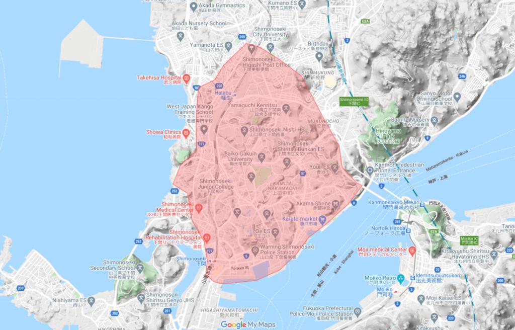 Uber Eats ウーバーイーツ 山口エリアマップ