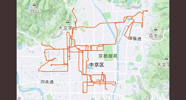 ウーバーイーツバイト京都の走行データ1日目