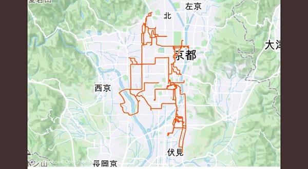 ウーバーイーツバイト京都の走行データ3日目