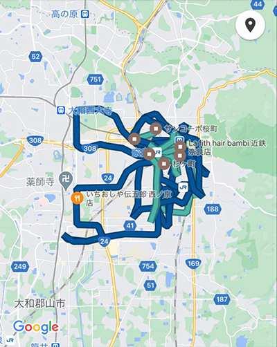 ウーバーイーツ奈良バイトの走行距離データ1日目