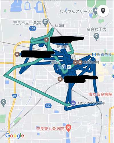 ウーバーイーツ奈良バイトの走行距離データ2日目