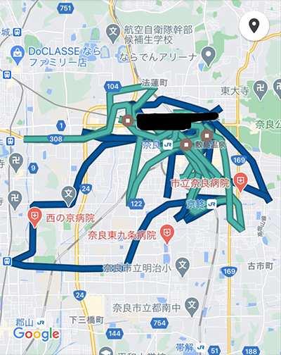ウーバーイーツ奈良バイトの走行距離データ3日目
